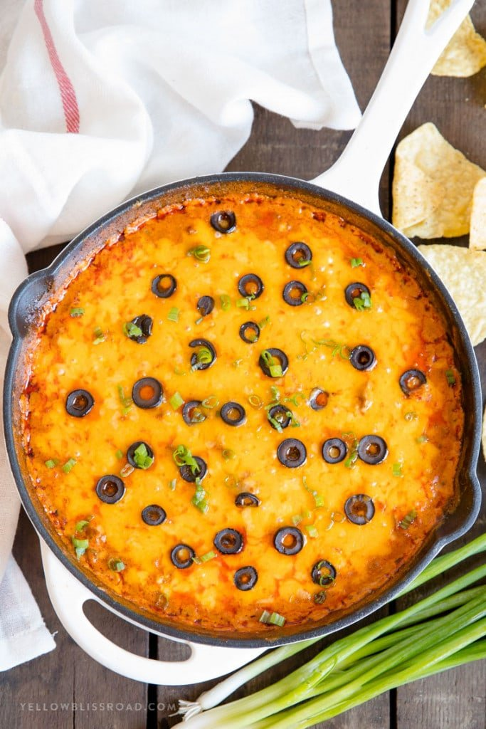 Cheesy Ground Beef Enchilada Dip in a Cast Iron Skillet | Appetizer Dip for a Crowd