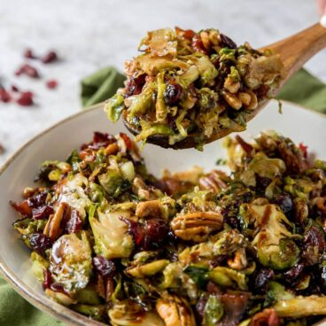 A plate of brussels sprouts salad
