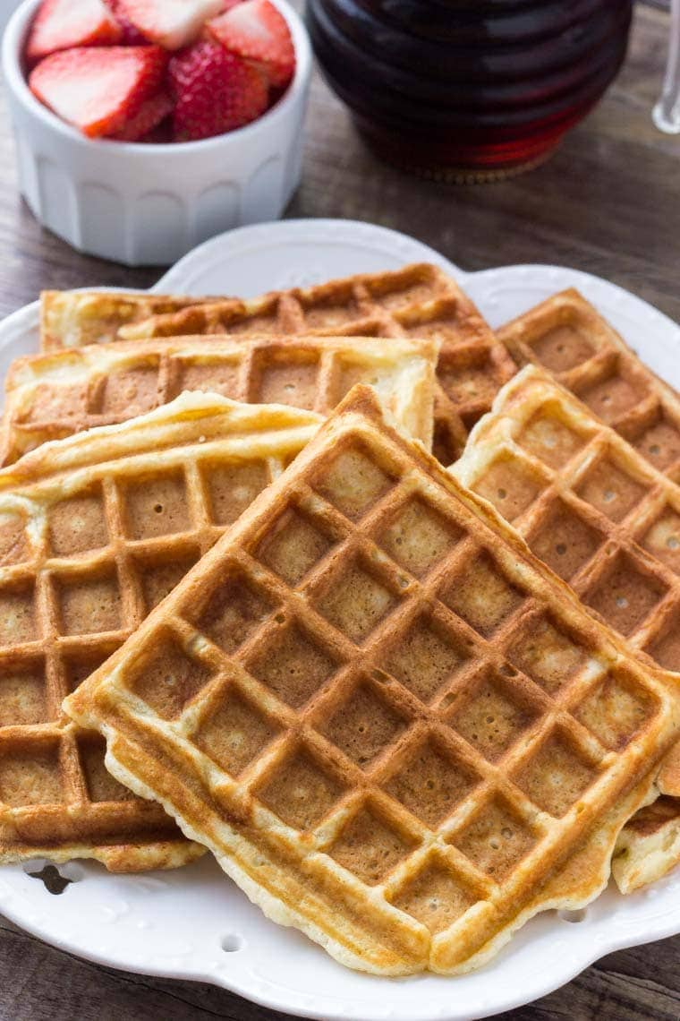 Make a big batch of homemade waffles for brunch. These waffles are soft and fluffy with golden edges. Perfect for entertaining!