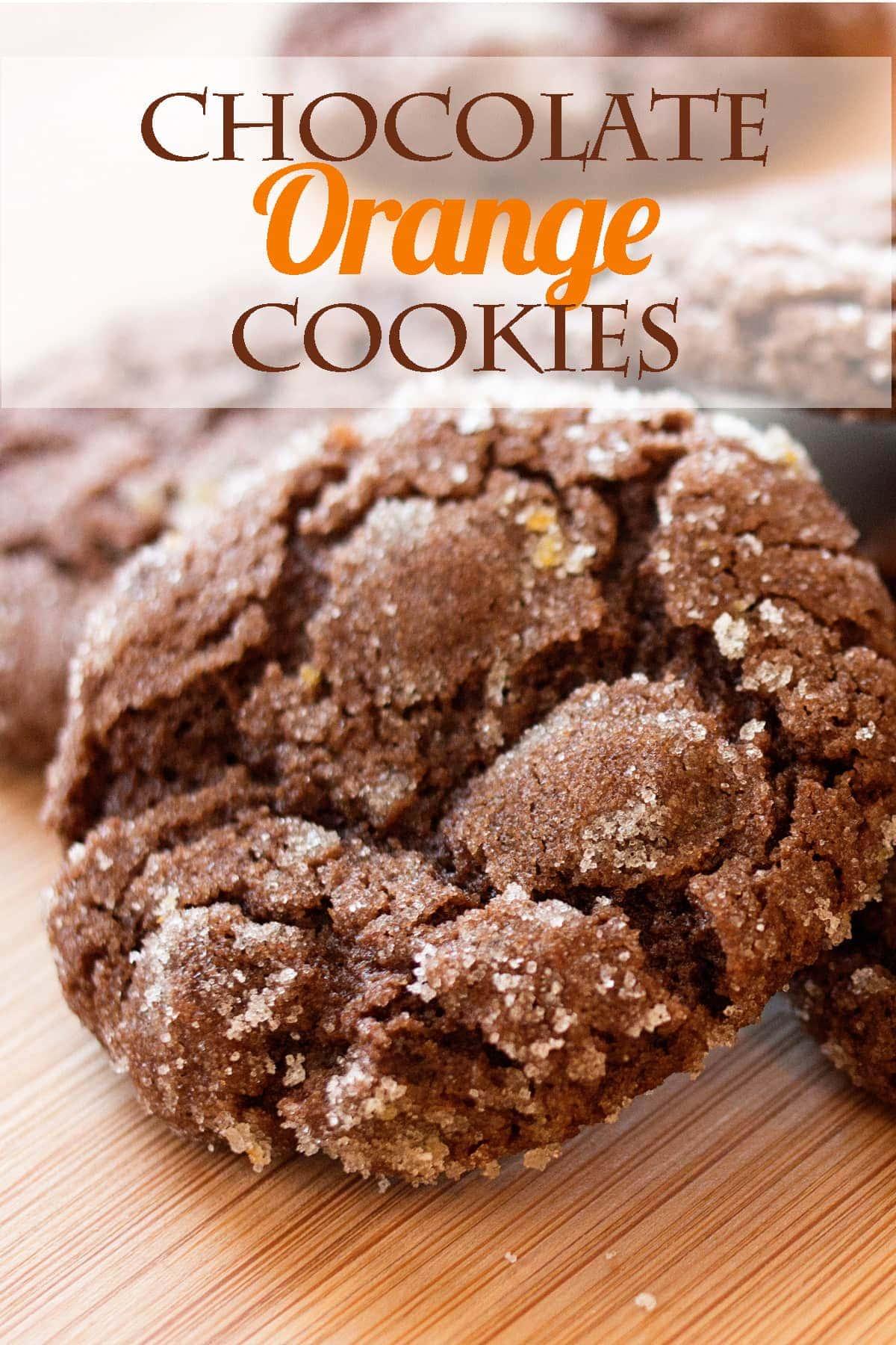 Social media image for chocolate orange cookies