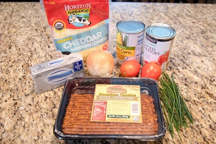 Ingredients for Creamy Chorizo Cheese Dip