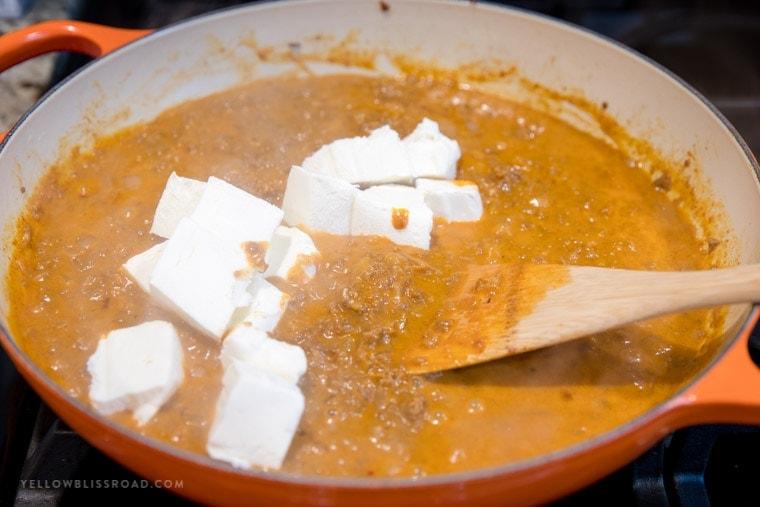 Cream cheese added to chorizo dip