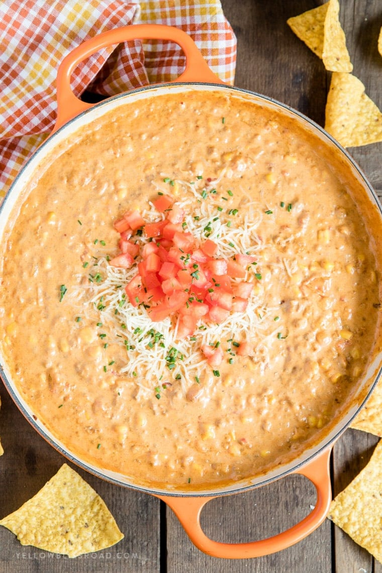 Creamy Chorizo Cheese Dip with Fresh Tomatoes and Chives
