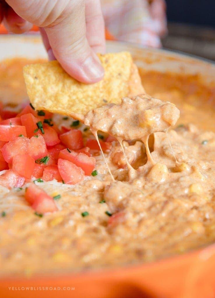 Cheesy Chorizo Dip with chips