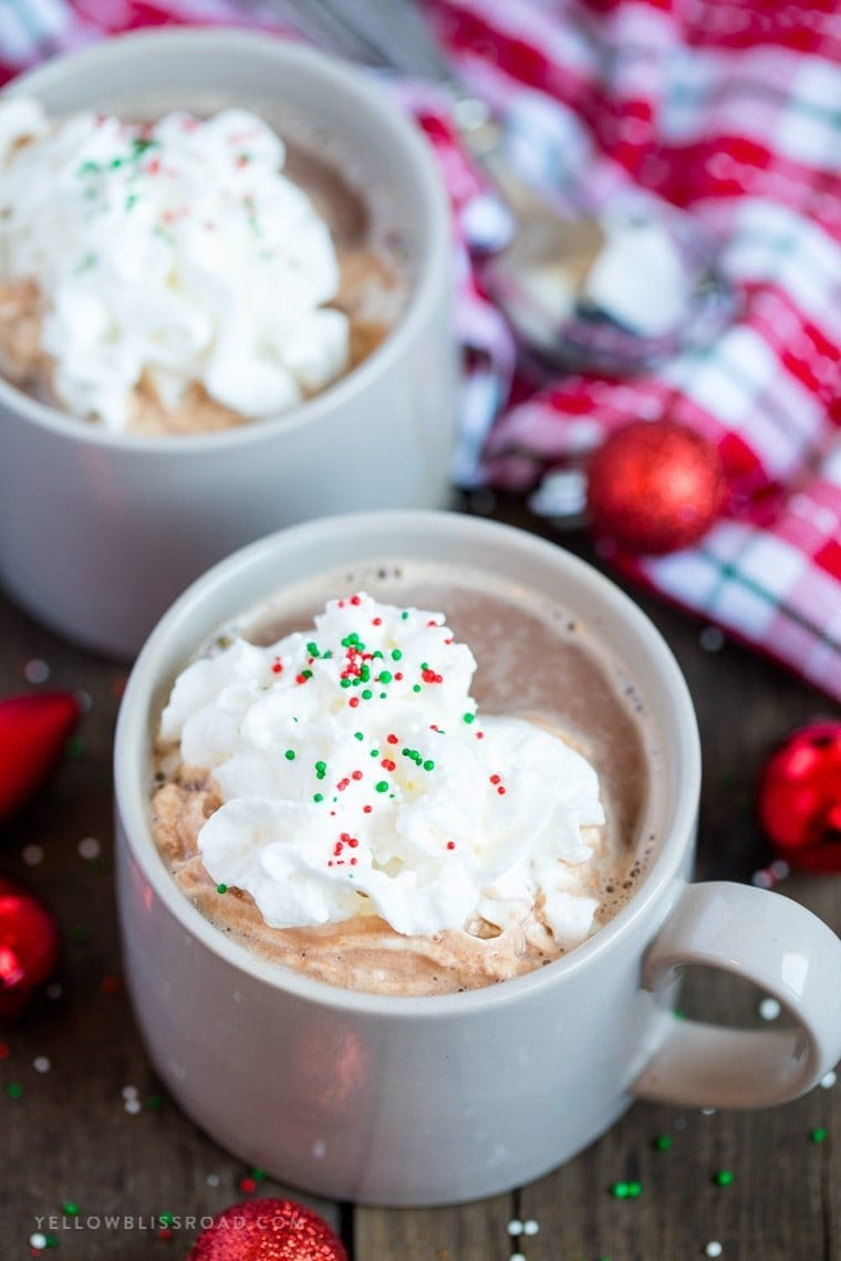 Creamy, decadent Slow Cooker Malted Hot Chocolate