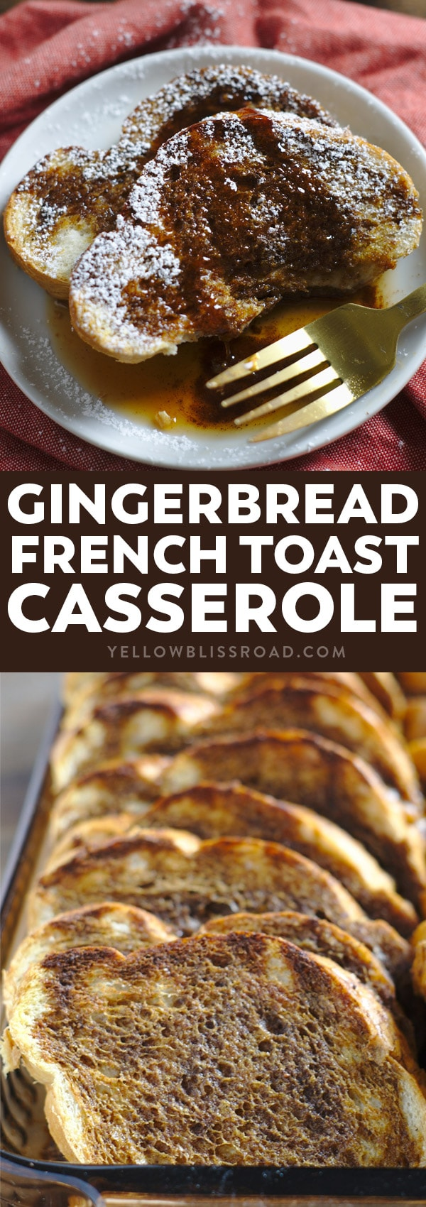 Social media image of Gingerbread French Toast Casserole