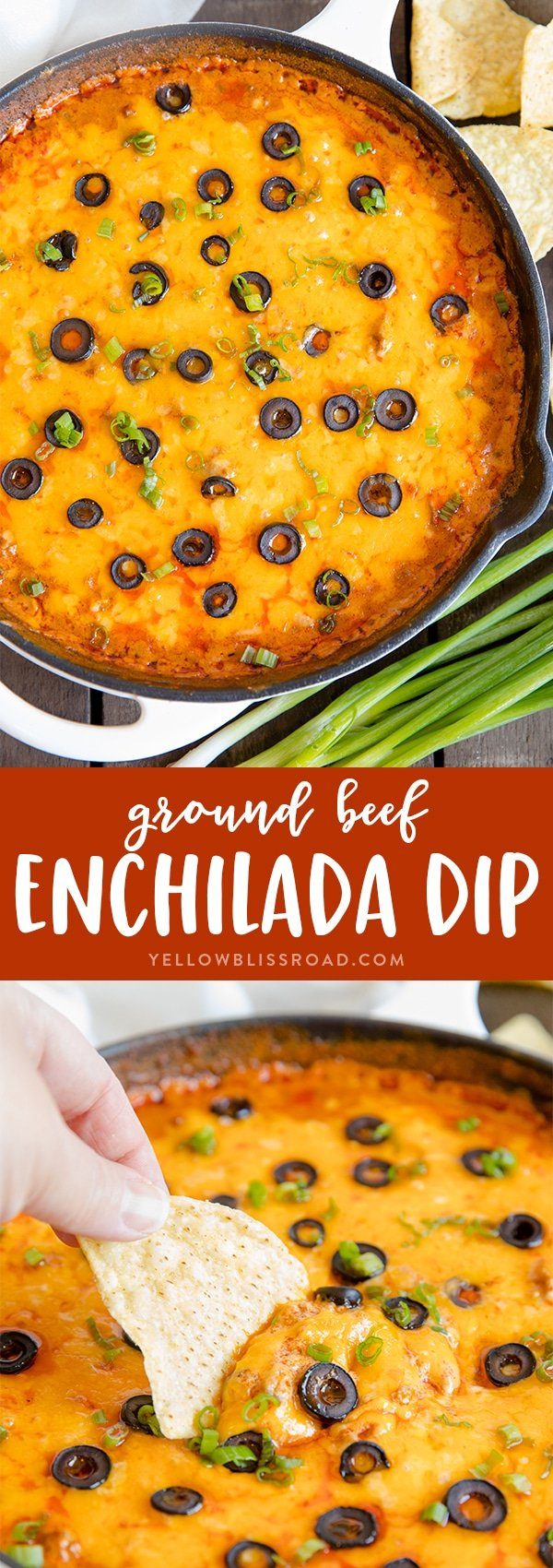 Cheesy Ground Beef Enchilada Dip in a Cast Iron Skillet | Game Day food | Appetizer