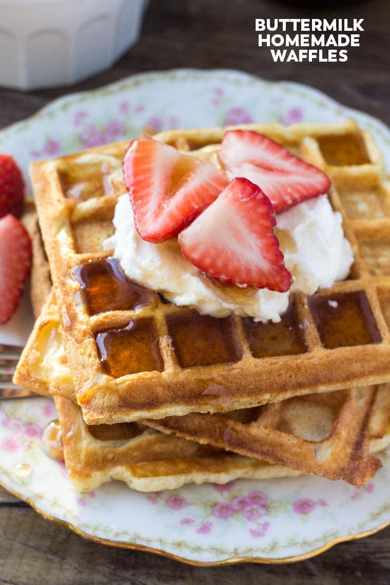 These light and fluffy buttermilk homemade waffles are the perfect brunch or breakfast recipe. Learn all the secrets to making waffles with tender centers and golden edges.