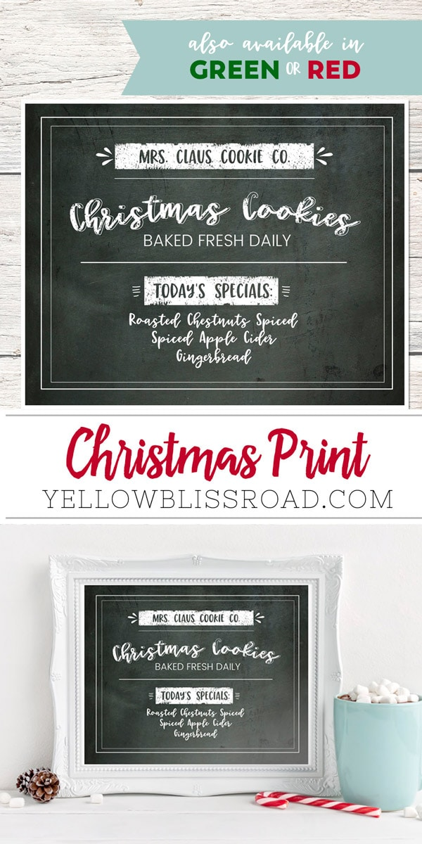Mrs. Claus Cookie Company Free Christmas Printable | easy Christmas decor