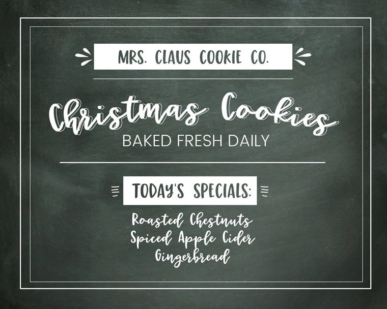 Free Christmas Printable Mrs Clause Cookie Company