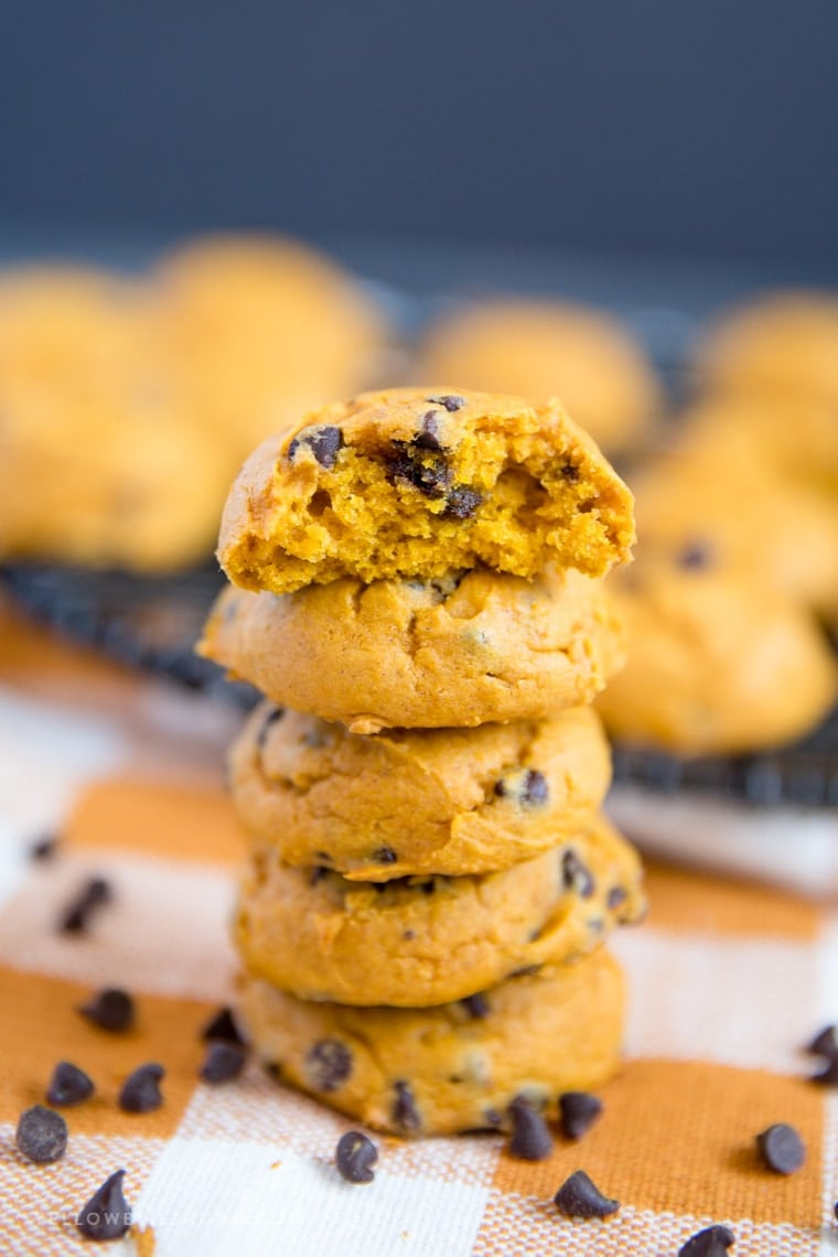 A close up of pumpkin chocolate chip cookes