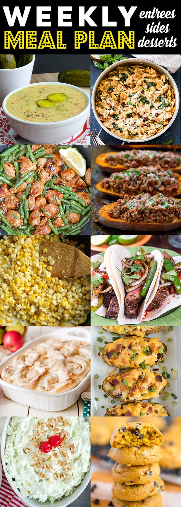 Collage of different dinner ideas
