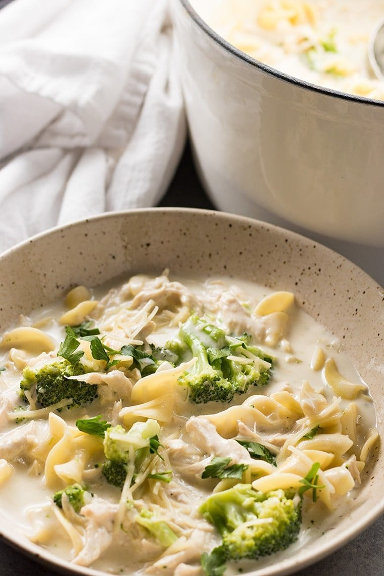 Chicken Alfredo Soup with Broccoli | Easy One Pot Meal