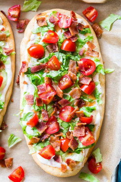 BLT Ranch Flatbread from overhead on a pan.