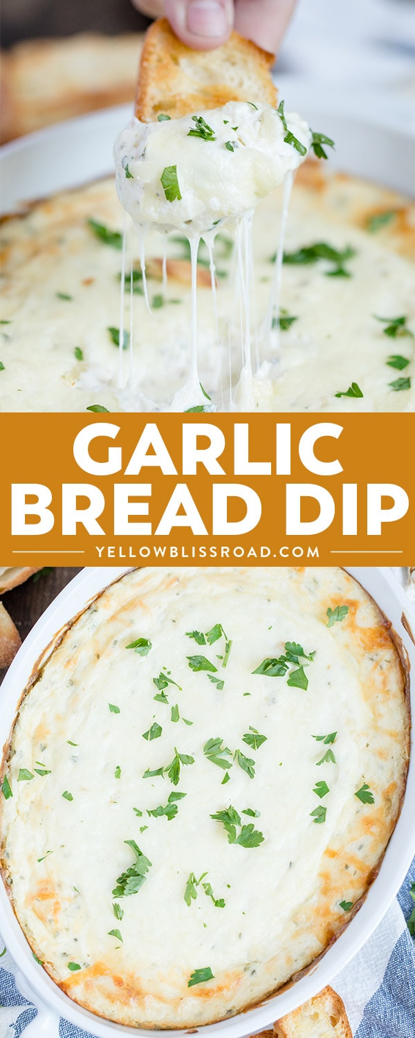 This Garlic Bread Cheese Dip has tons of creamy cheeses and roasted garlic - all the flavors of your favorite side dish in a delicious appetizer dip!
