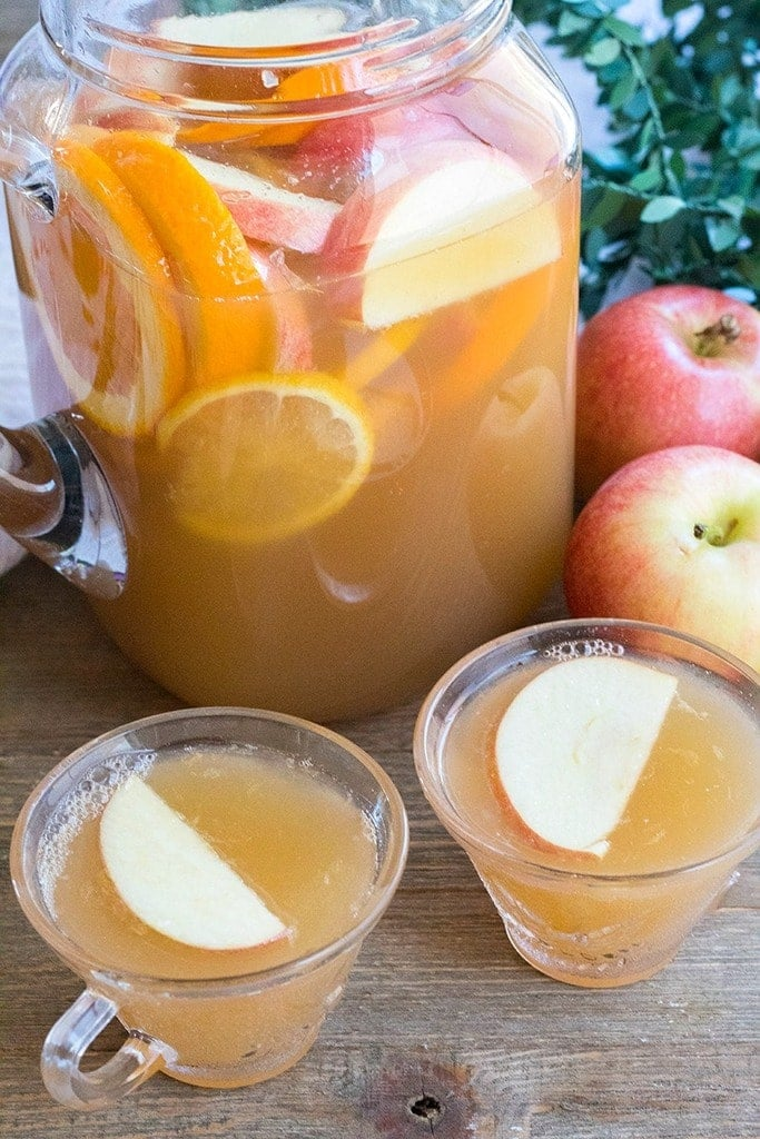 Apple Cider Ginger Punch is a delicious combination of apple cider, ginger ale & lemon for an easy party punch the whole family loves!