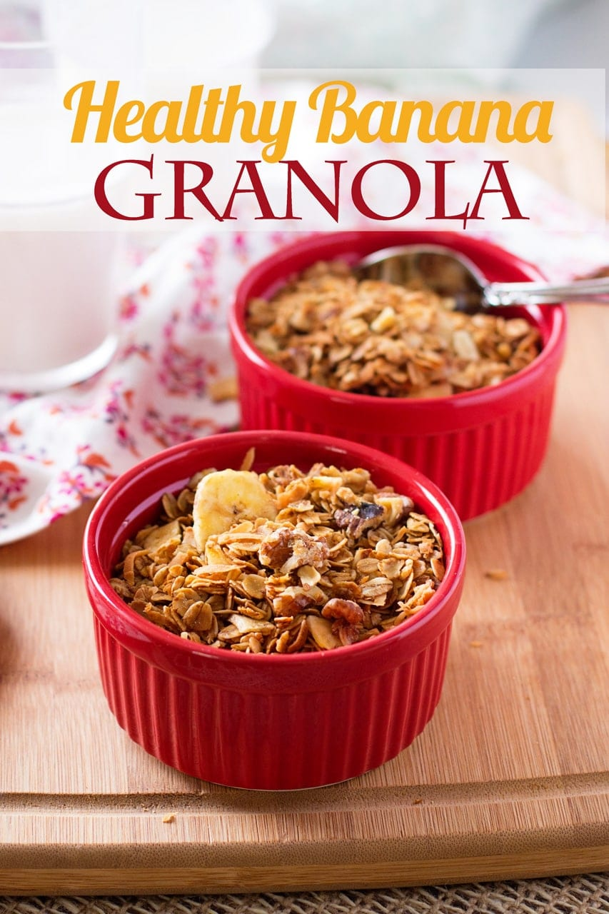 Social media image of healthy banana granola in red ramekins