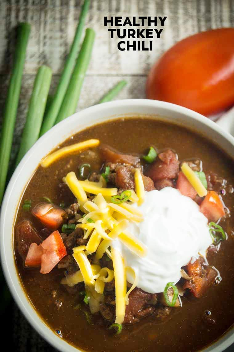 Healthy Turkey Chili | Lowfat turkey chili | Ground Turkey Recipes