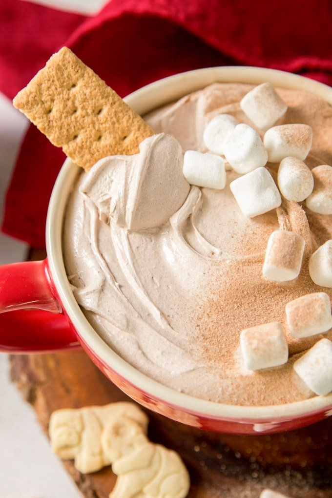 Hot chocolate dip with marshmallows