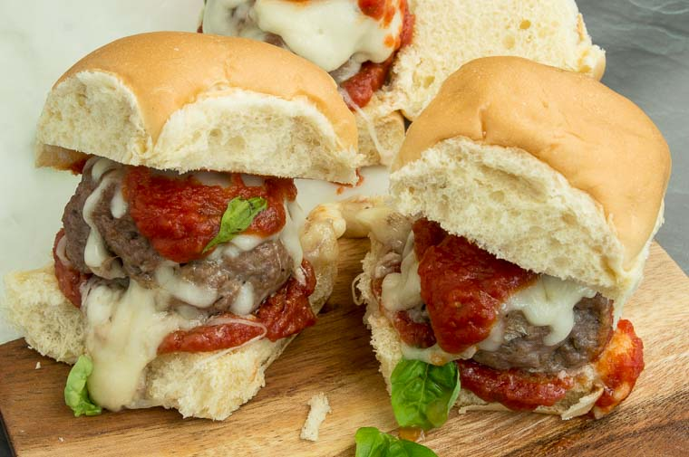 A tray of Italian meatball Sliders on your game day table!