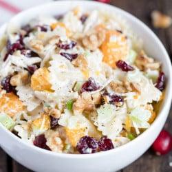 A close up of a Turkey Cranberry Walnut Pasta Salad