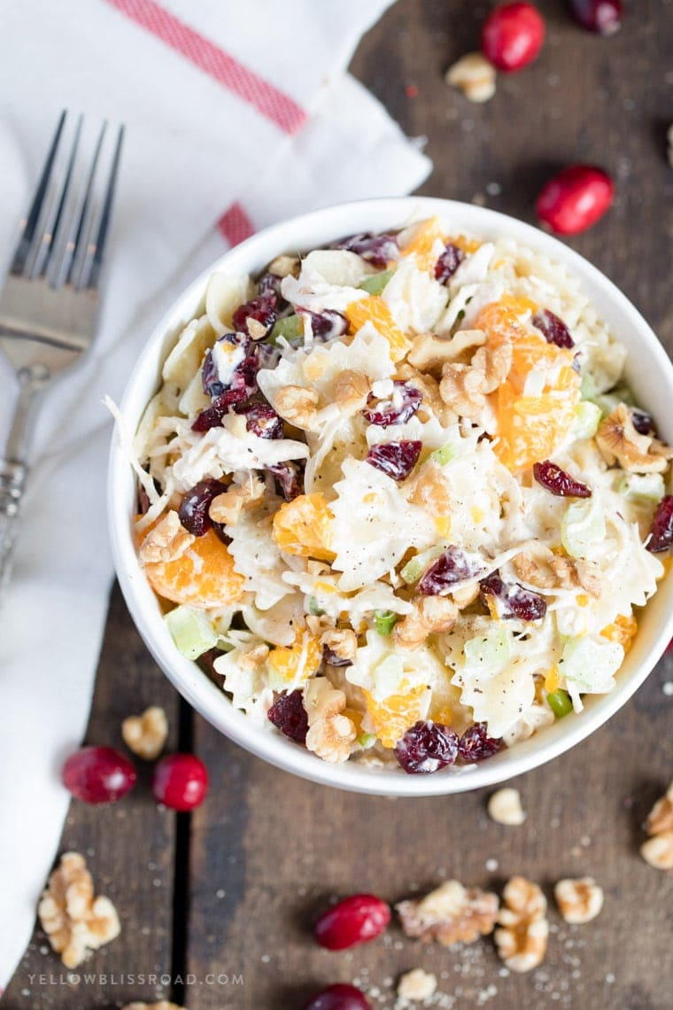 Turkey, Cranberry and Walnut Pasta Salad - Quick and easy meal for the holidays