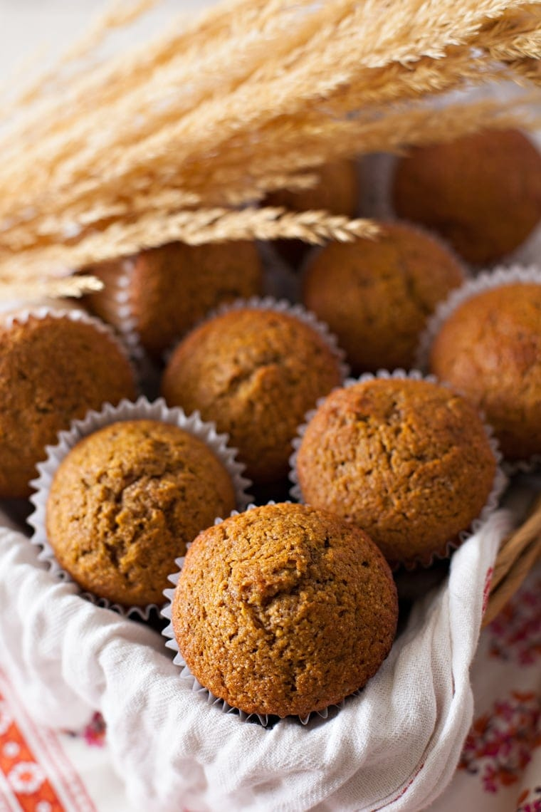 A close up of Whole Wheat Pumpkin Muffins