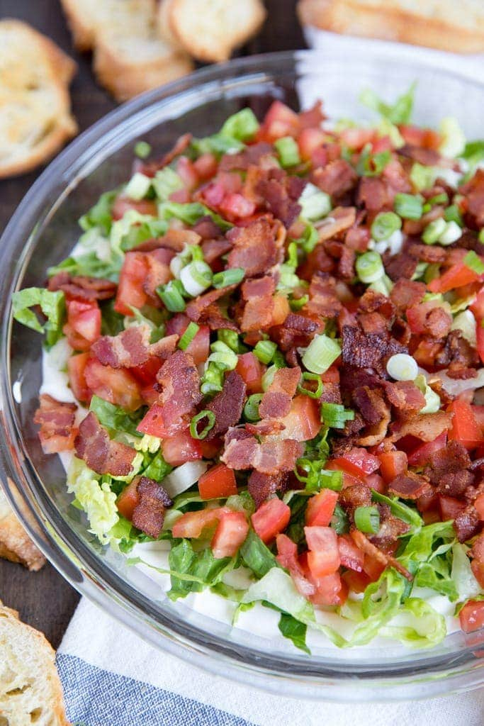 A big platter of BLT Dip for Game Day appetizer
