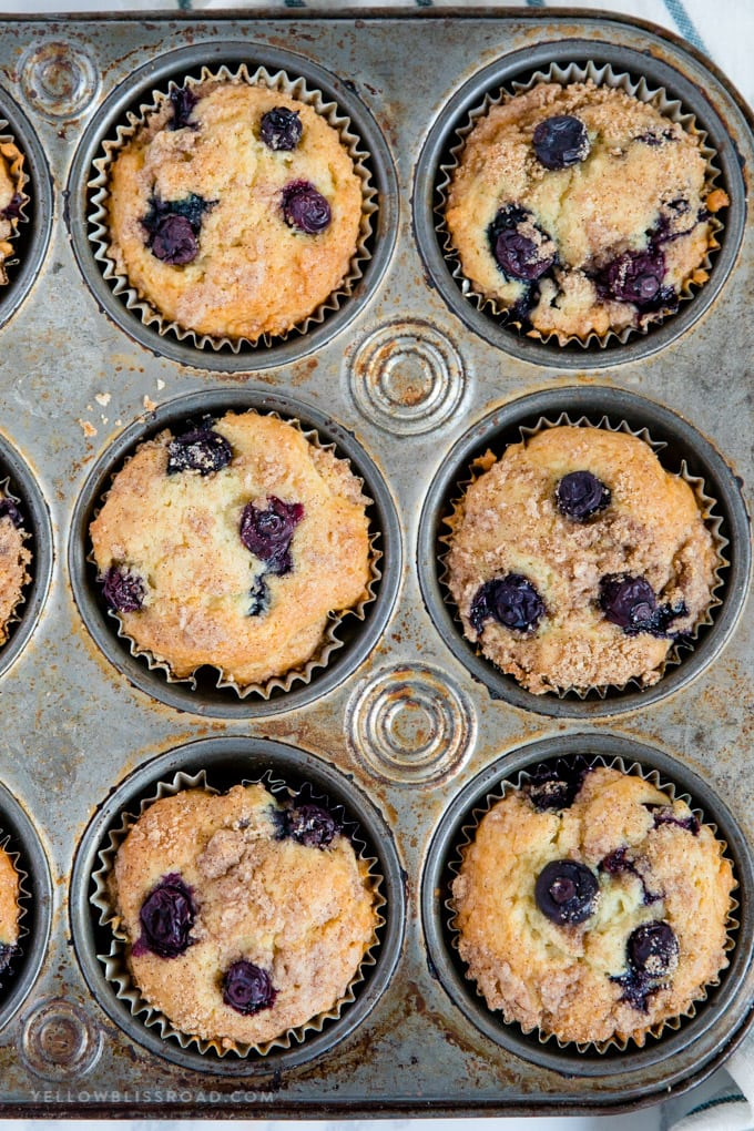 Blueberry Sour Cream Coffee Cake Muffins with cinnamon streusel