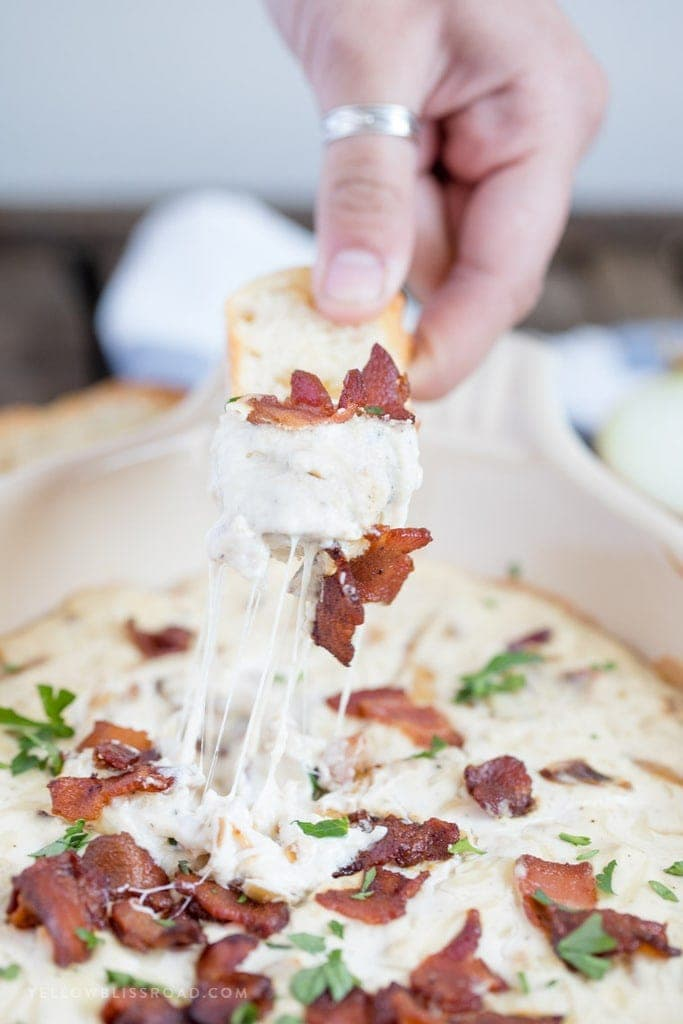 Caramelized Onion and Bacon Dip with Crostini