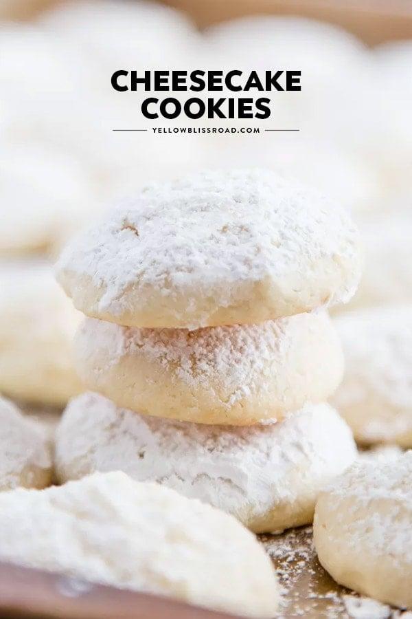 Cheesecake Cookies pinnable image (stacked cookies)