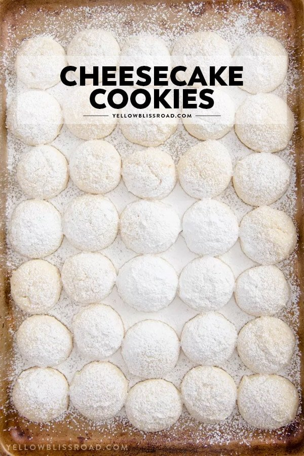 A tray of cheesecake cookies with text overlay