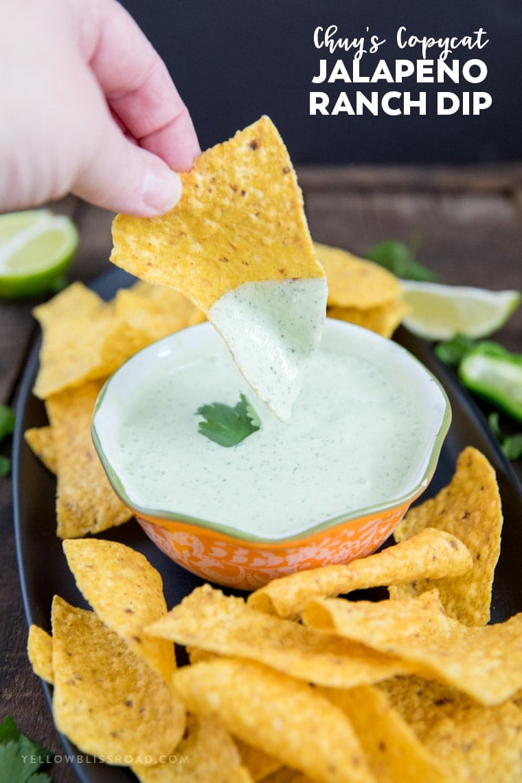 Chuy's Copycat Creamy Jalapeno Ranch Dip on a chip with title text
