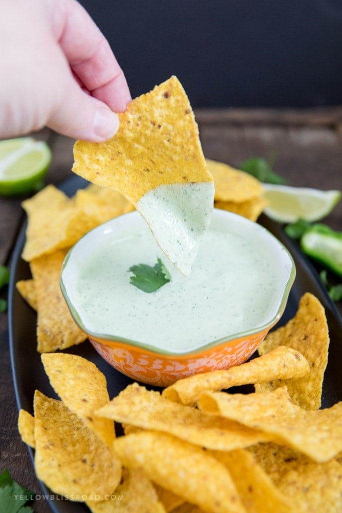 Chuy's Copycat Creamy Jalapeno Ranch Dip on a chip
