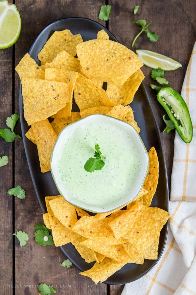 Overhead view of Chuy's Copycat Jalapeno Ranch Dip with tortilla chips