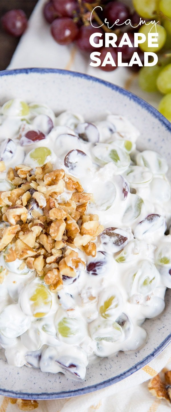 This Creamy Grape Salad with walnuts is is creamy and sweet and the perfect side dish or dessert for picnics, potlucks and parties.