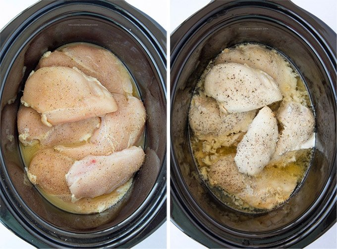 Crockpot filled with chicken