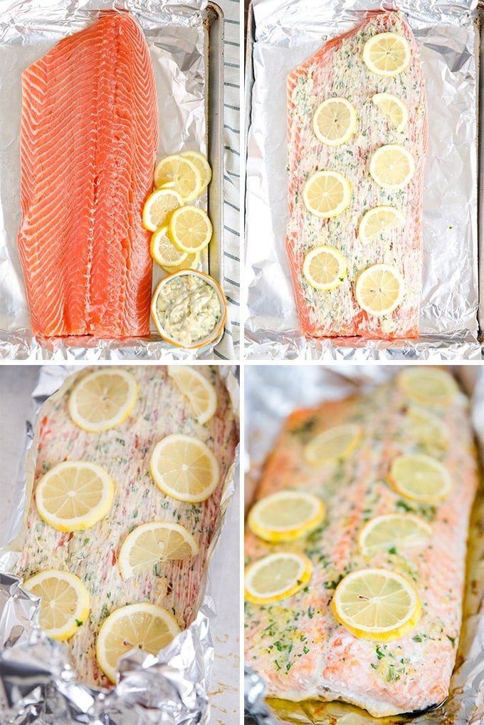 Collage of how to make baked salmon