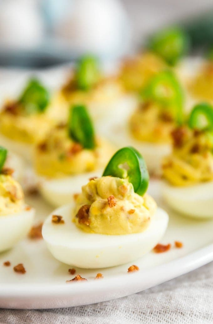 A close up image of Jalapeno Popper Deviled Eggs.