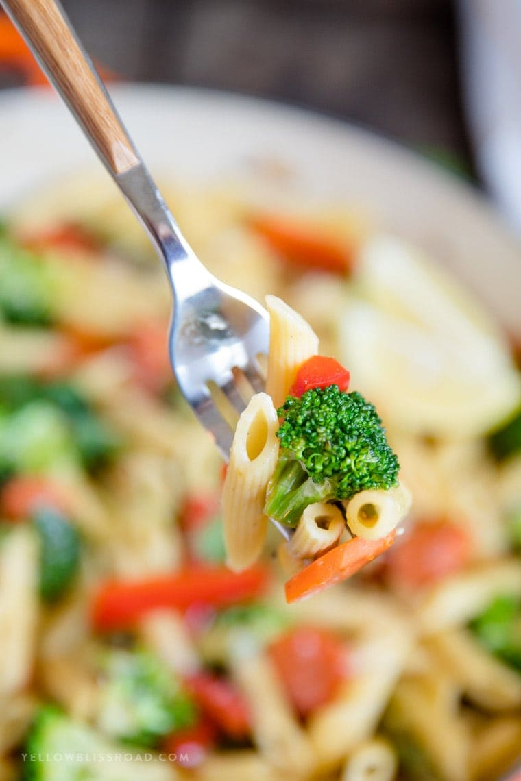 Penne Pasta Primavera on a fork