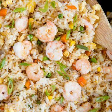 A pan with shrimp fried rice