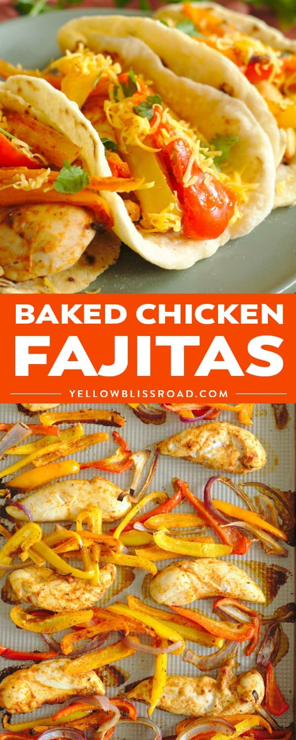 Baked Chicken Fajitas are a quick and easy 30-minute meal! Chicken, bell peppers, onions, and a delicious blend of Mexican spices are baked on a sheet pan for a dinner that's sure to be a new family favorite!