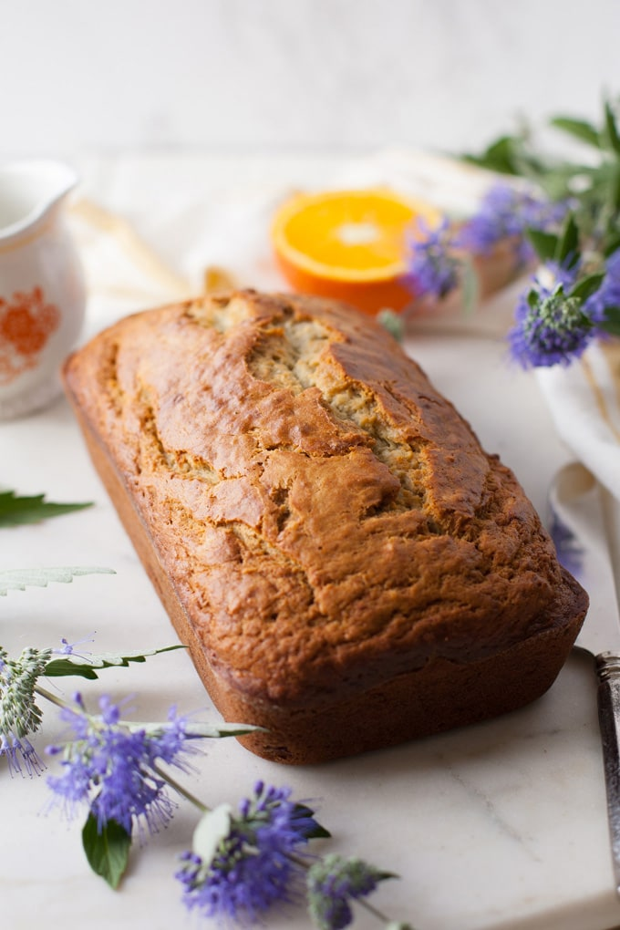 A loaf of banana coconut bread