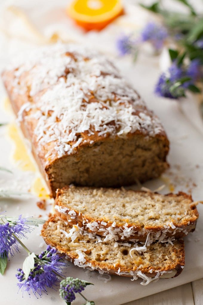 Coconut Banana Bread with Orange Glaze. Try this tropical twist on a classic favorite! Banana bread with coconut flavor baked in and a bright, sweet orange glaze on top.
