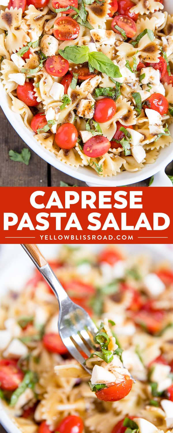 My Caprese Pasta Salad is he perfect spring pasta salad with tender pasta, juicy tomatoes, chunks of fresh Mozzarella and a tangy Balsamic Vinaigrette.