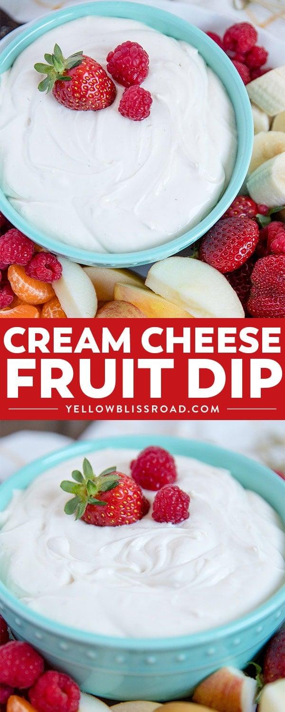 Social media image of cream cheese fruit dip