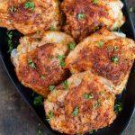 Social media image of crispy baked chicken thighs