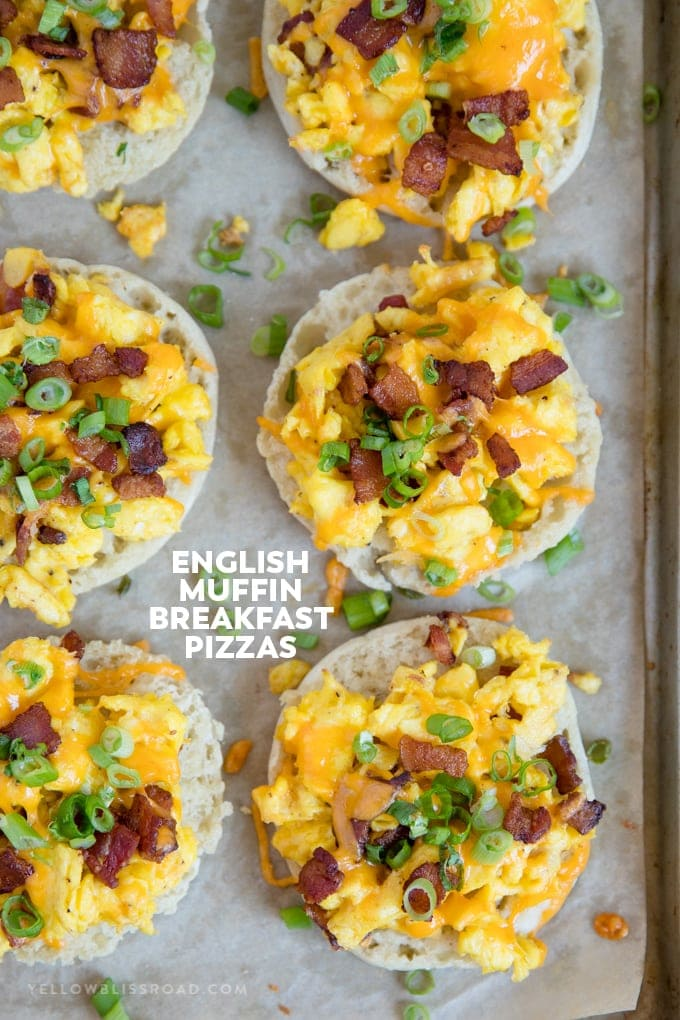 Social media image of English muffin breakfast pizzas