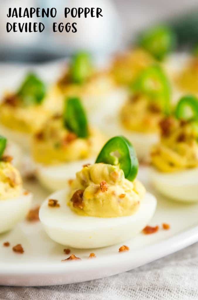 A plate of jalapeno popper deviled eggs