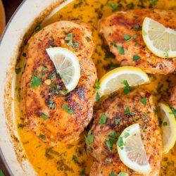 A pan of Lemon Butter Chicken